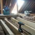 <p>The new floor joists  go in.</p>